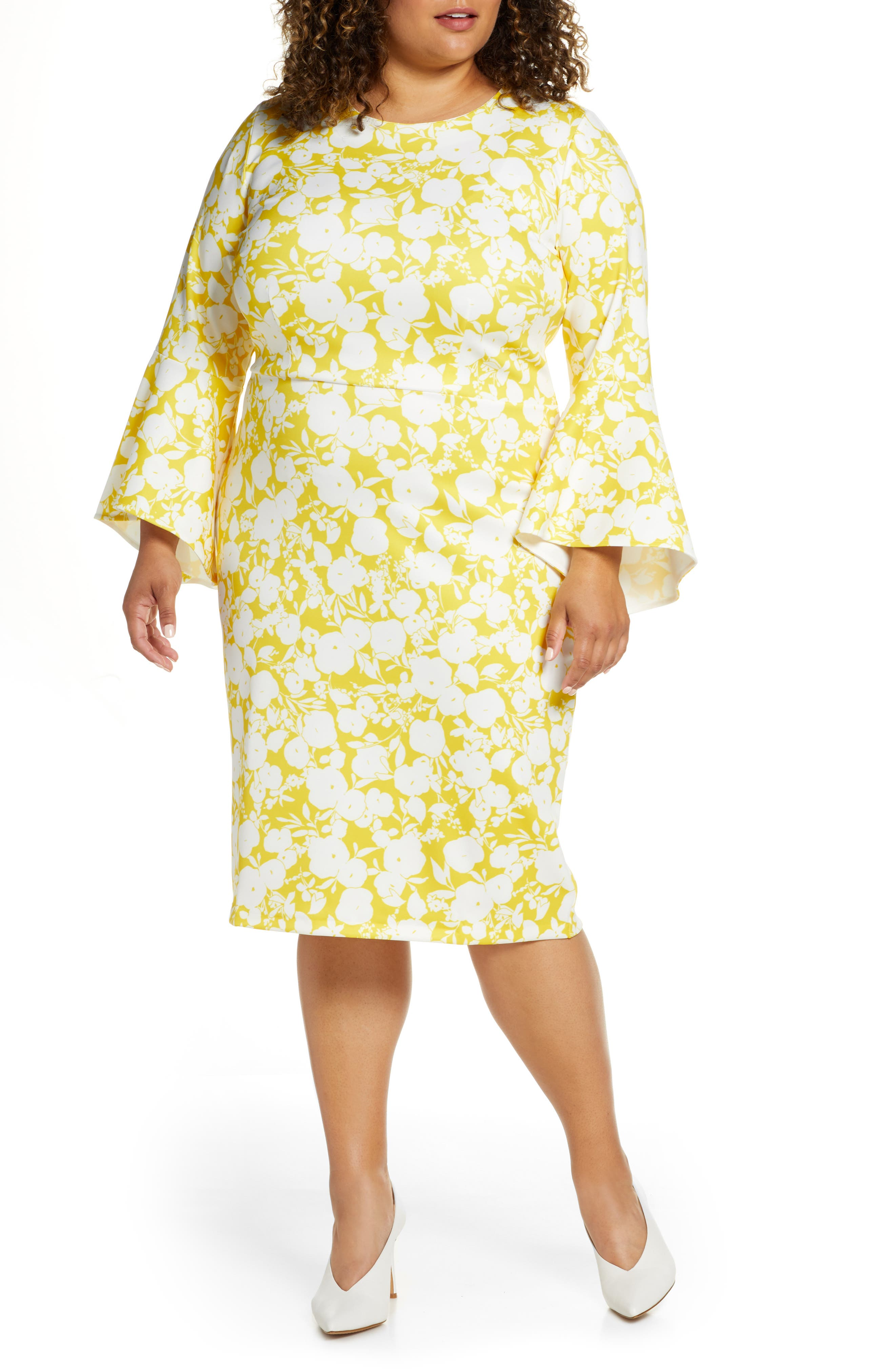 60s 70s Plus Size Dresses, Clothing, Costumes Plus Size Womens Eloquii Long Sleeve Scuba Sheath Dress $99.50 AT vintagedancer.com
