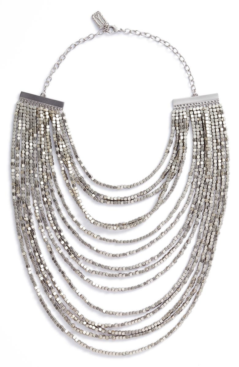 KARINE SULTAN Joan Beaded Multistrand Necklace, Main, color, SILVER