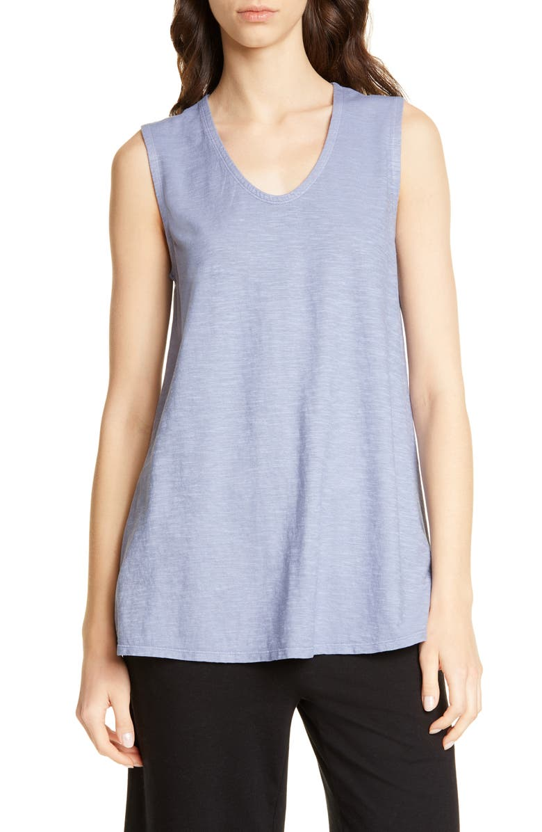 EILEEN FISHER V-Neck Hemp & Organic Cotton Shell, Main, color, CHAMBRAY