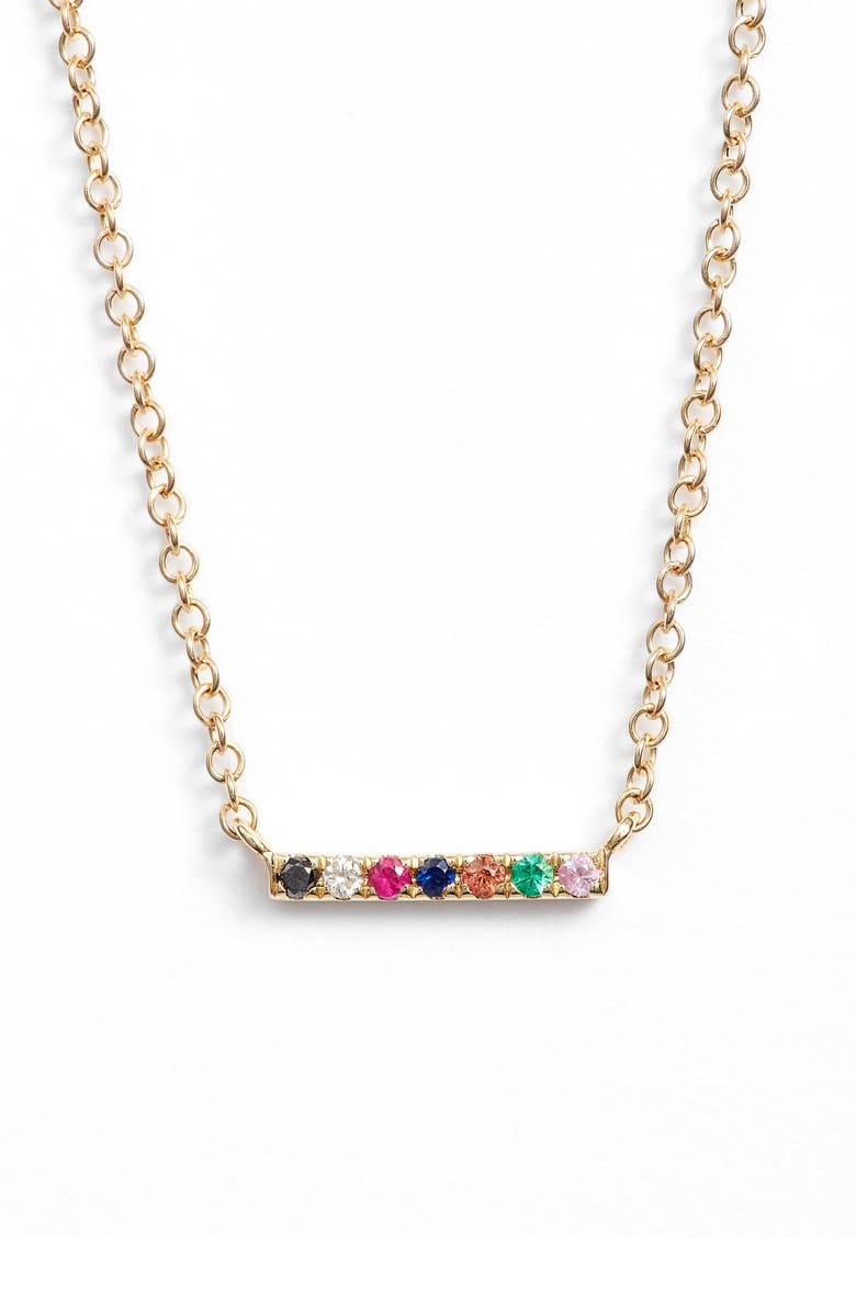 EF COLLECTION Mini Bar Rainbow Necklace, Main, color, YELLOW GOLD