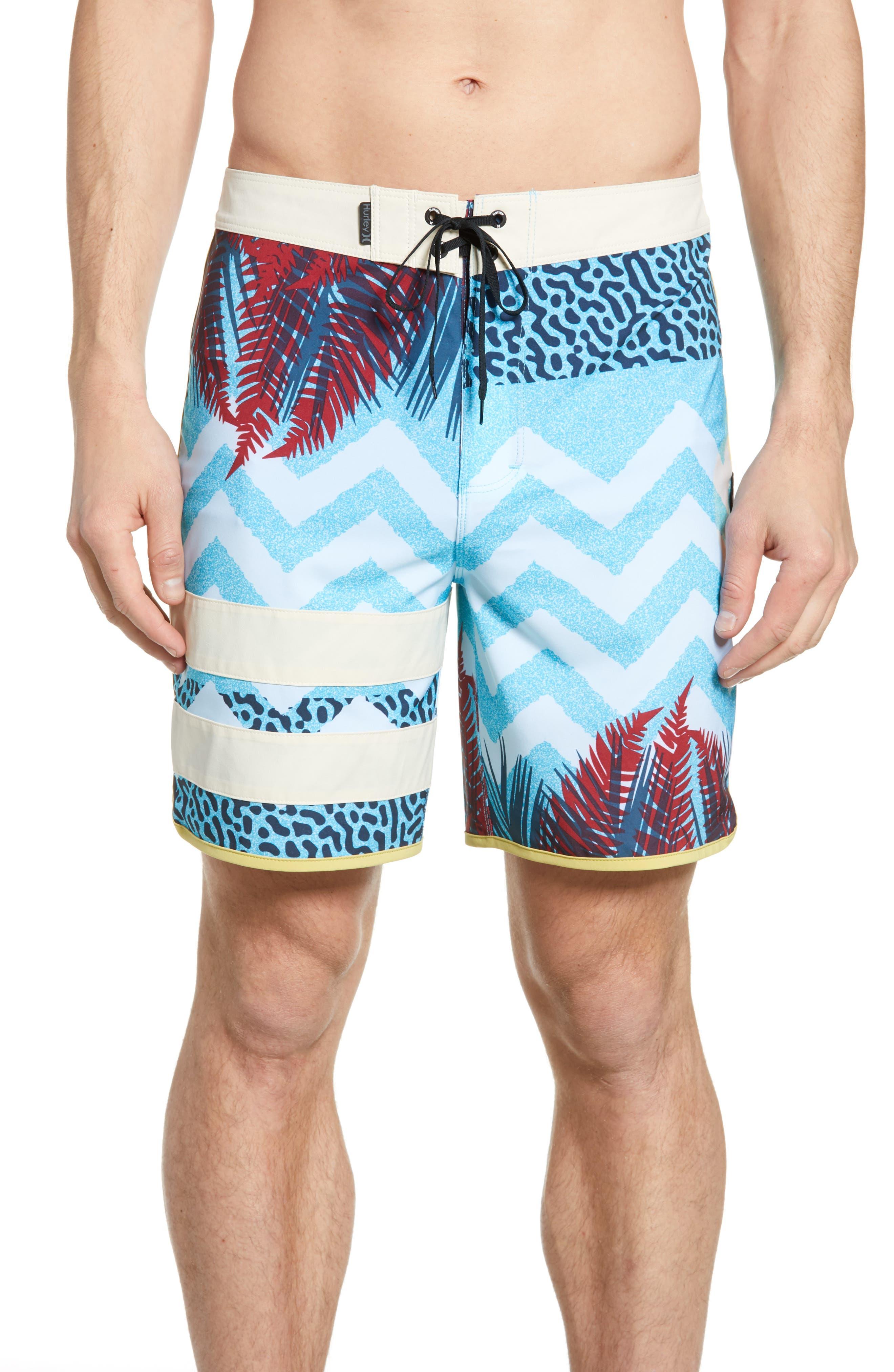 Hurley Phantom Block Party Shipwreck Print Board Shorts, Blue