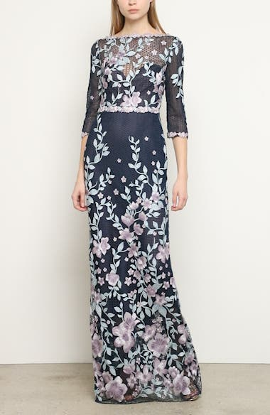 Embroidered Floral Sheath Gown, video thumbnail
