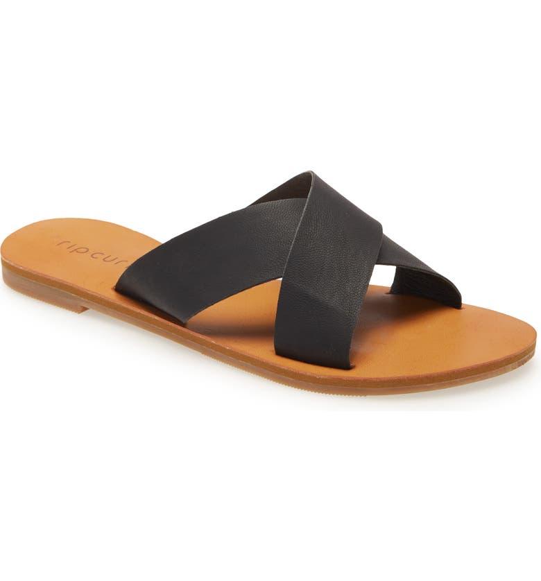 RIP CURL Blueys Cross Strap Slide Sandal, Main, color, BLACK