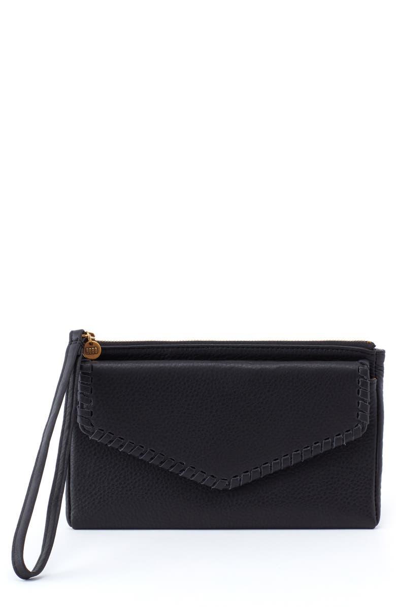 HOBO Leather Wristlet, Main, color, BLACK