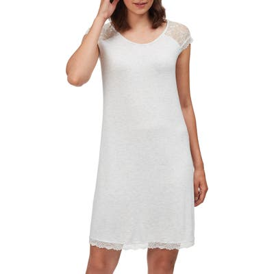 The White Company Lace Cap Sleeve Nightgown, Grey