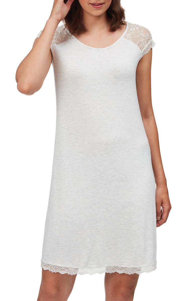 THE WHITE COMPANY Lace Cap Sleeve Nightgown, Main, color, CLOUD MARL