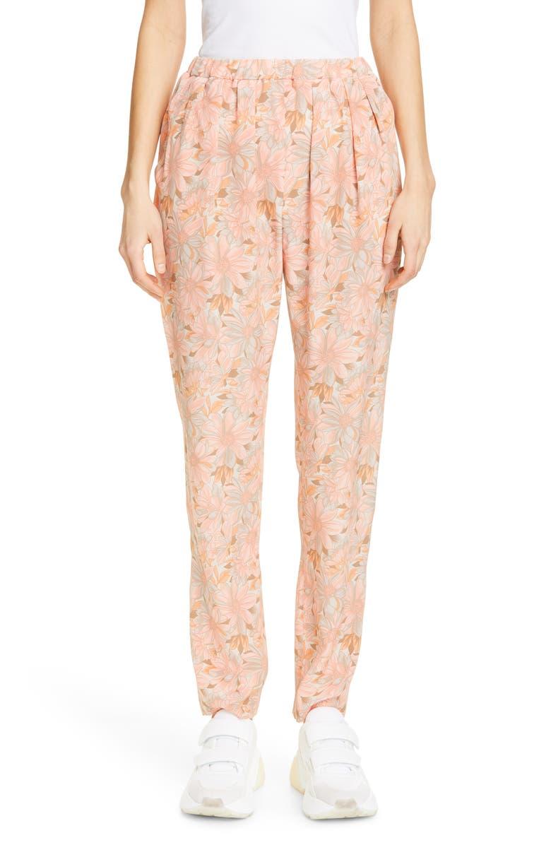 STELLA MCCARTNEY Floral Print Silk Jogger Pants, Main, color, 800