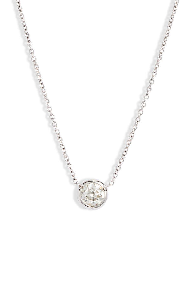 BONY LEVY Large Bezel Diamond Solitaire Necklace, Main, color, WHITE GOLD/ DIAMOND