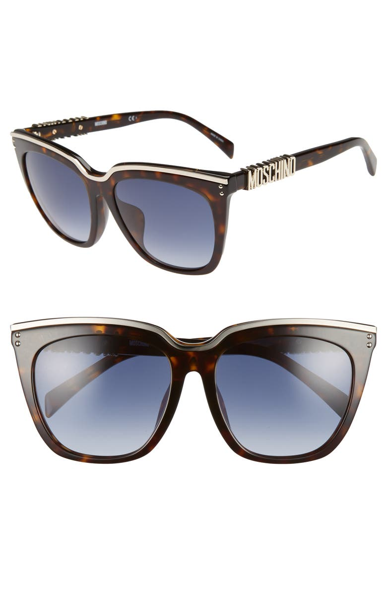 MOSCHINO 55mm Special Fit Mirrored Cat Eye Sunglasses, Main, color, DARK HAVANA