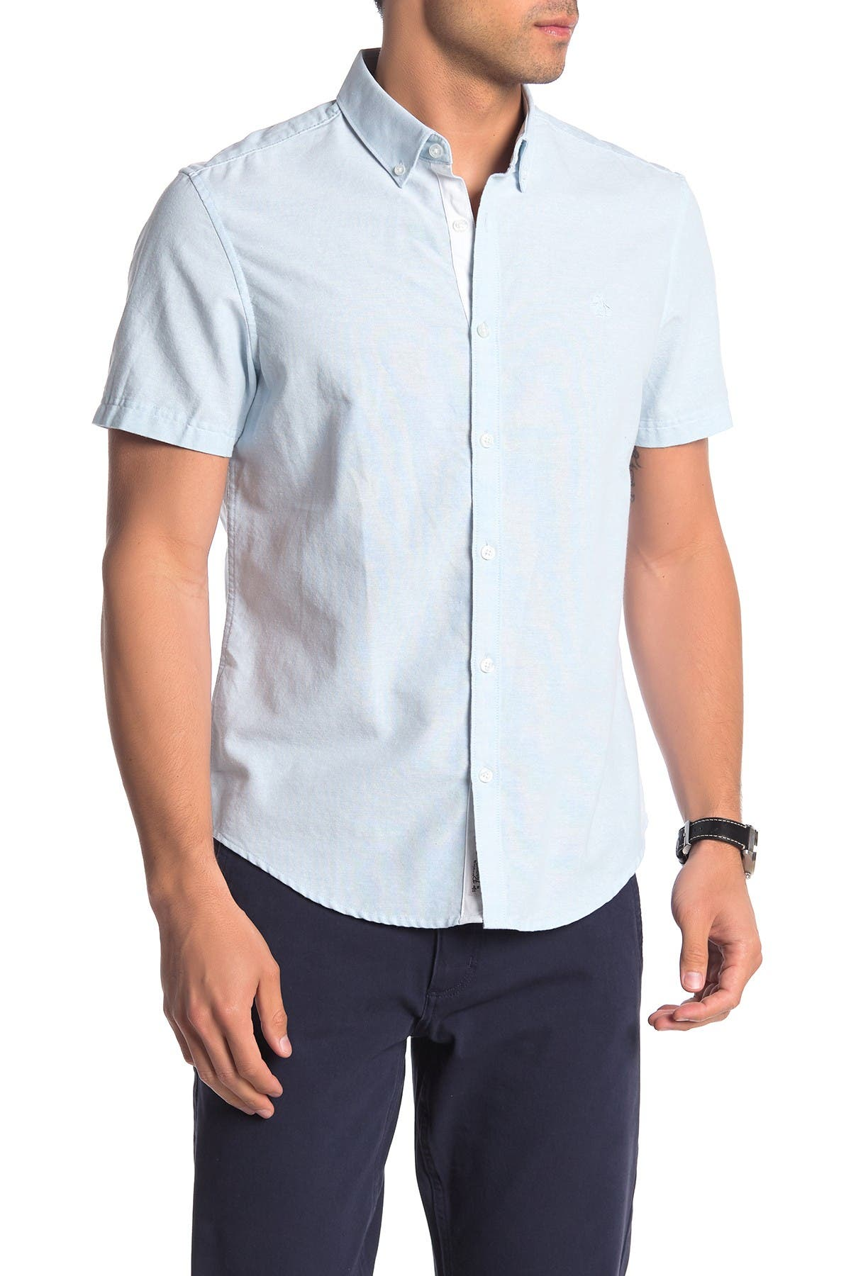 Image of Original Penguin Short Sleeve Woven Trim Fit Oxford Shirt