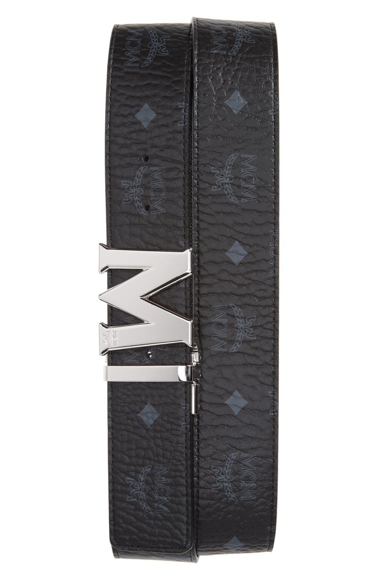 MCM Reversible Signature Leather Belt, Main, color, BLACK