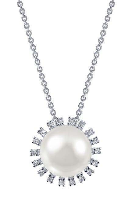 Image of LaFonn Platinum Over Sterling Silver Micro Pave Simulated Diamond & 5mm Freshwater Pearl Pendant Necklace