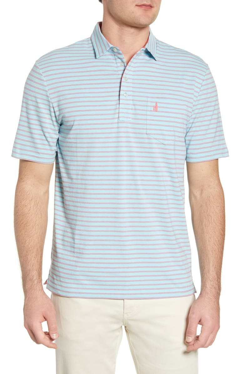 JOHNNIE-O Hangin' Out Marfa Stripe Pocket Polo, Main, color, BIMINI BLUE
