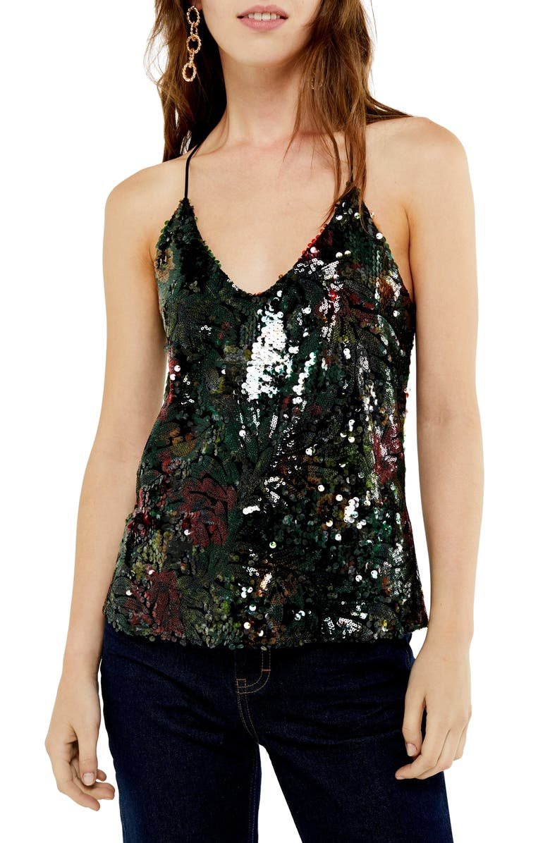 TOPSHOP Dark Floral Sequin Camisole Top, Main, color, BLACK MULTI