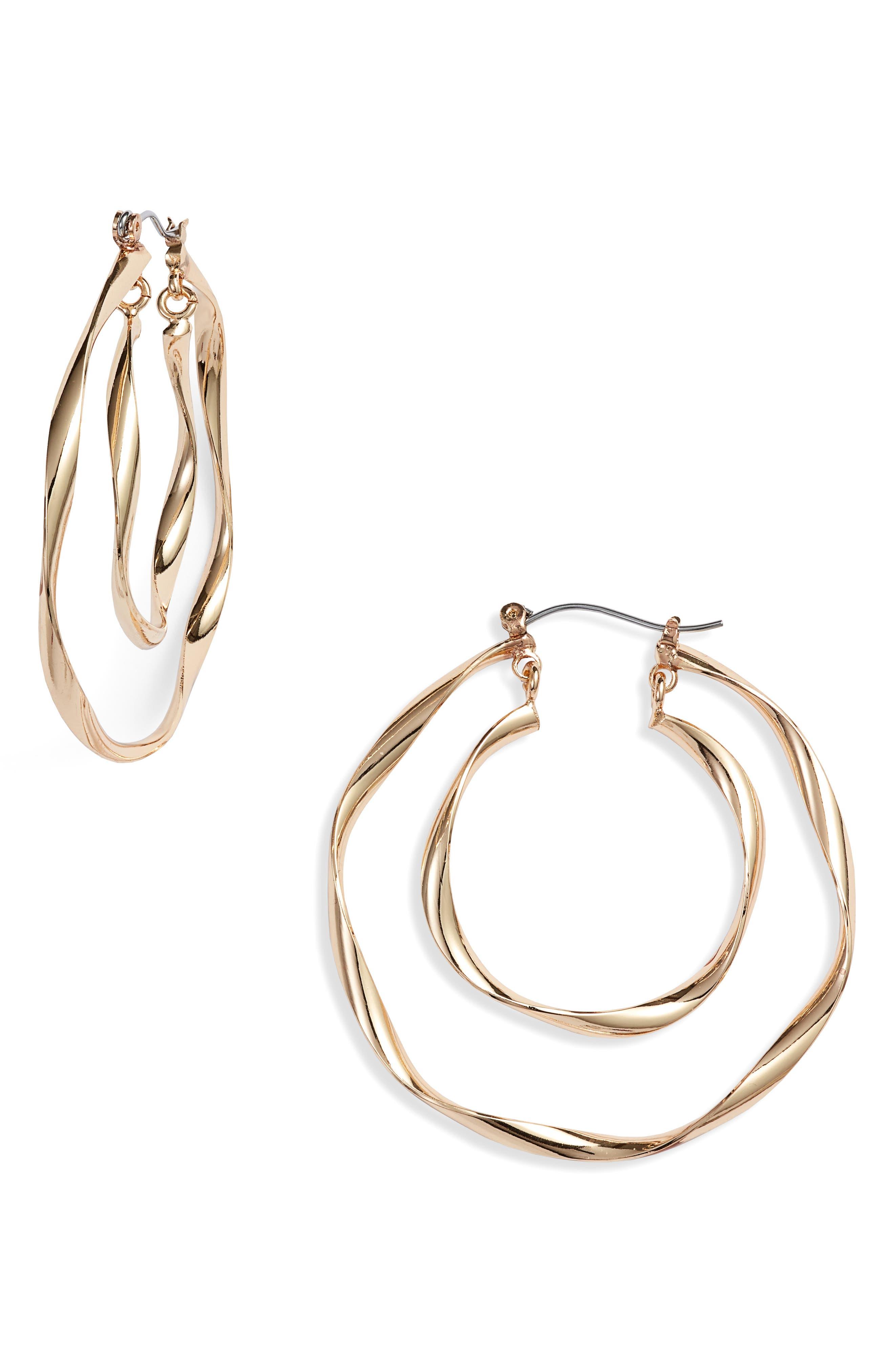 Twisted Double Hoop Earrings