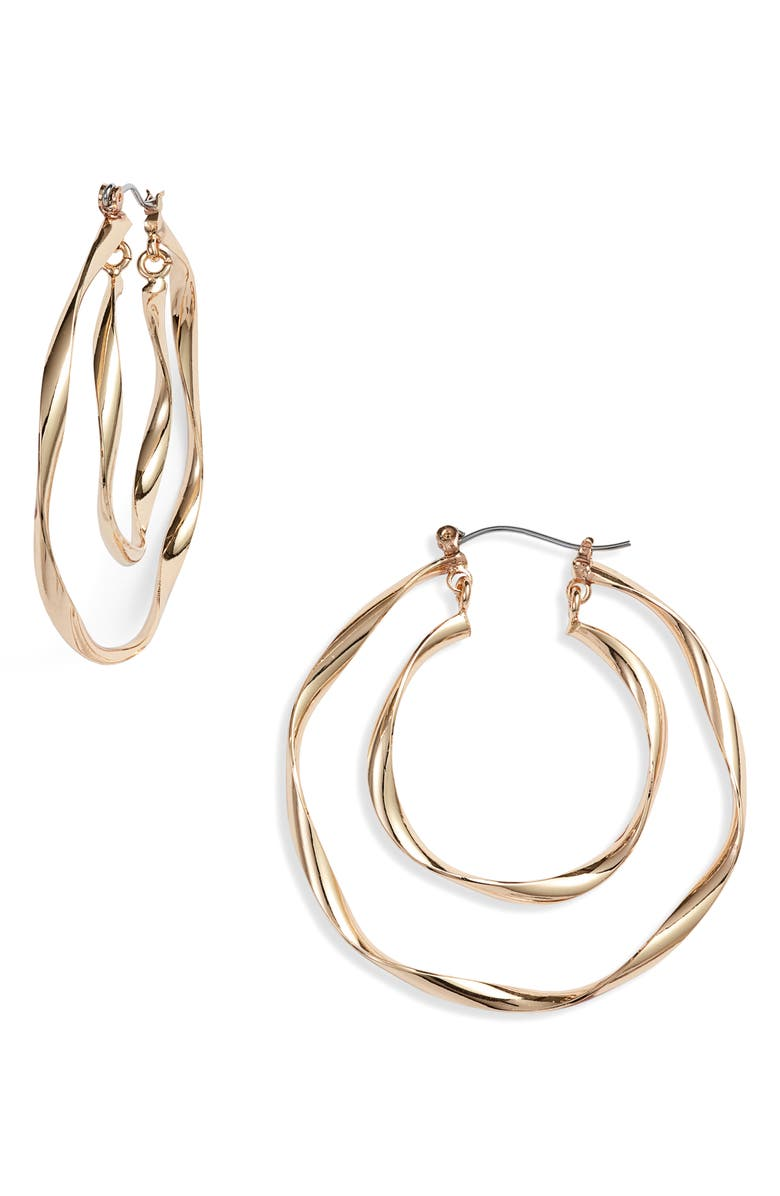 KNOTTY Twisted Double Hoop Earrings, Main, color, GOLD