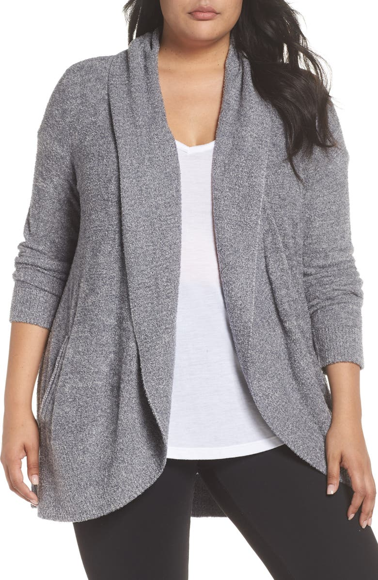 BAREFOOT DREAMS<SUP>®</SUP> CozyChic<sup>™</sup> Lite Circle Cardigan, Main, color, PACIFIC BLUE/ SILVER HEATHER