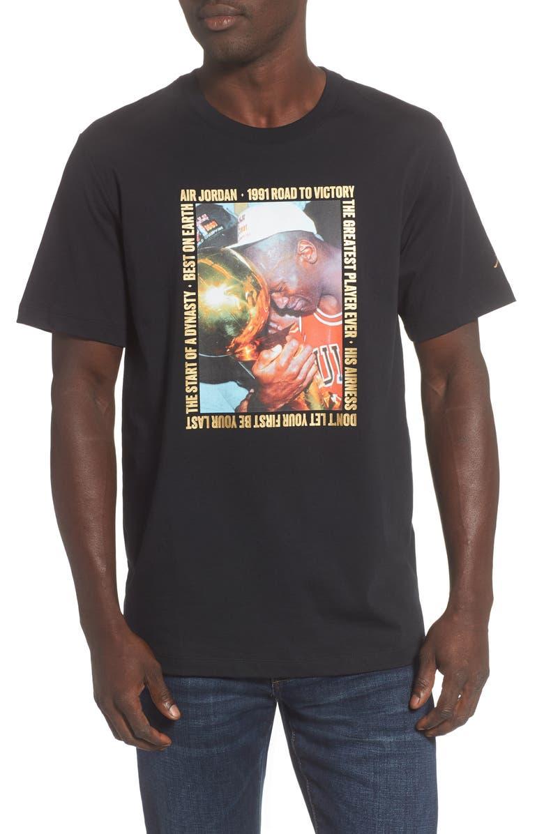 JORDAN Remastered Photo T-Shirt, Main, color, BLACK