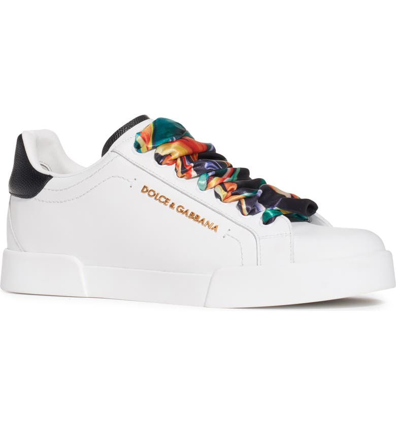 DOLCE&GABBANA Logo Low Top Sneaker, Main, color, WHITE/ MULTI