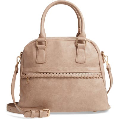 Sole Society Vulin Whipstitch Faux Leather Satchel - Beige