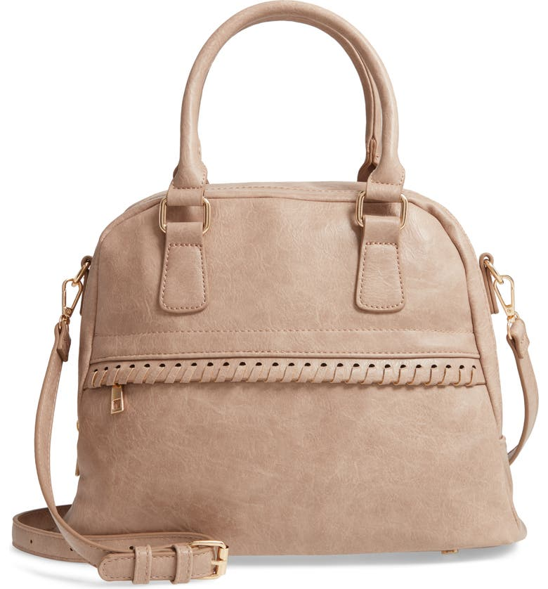 SOLE SOCIETY Vulin Whipstitch Faux Leather Satchel, Main, color, 250