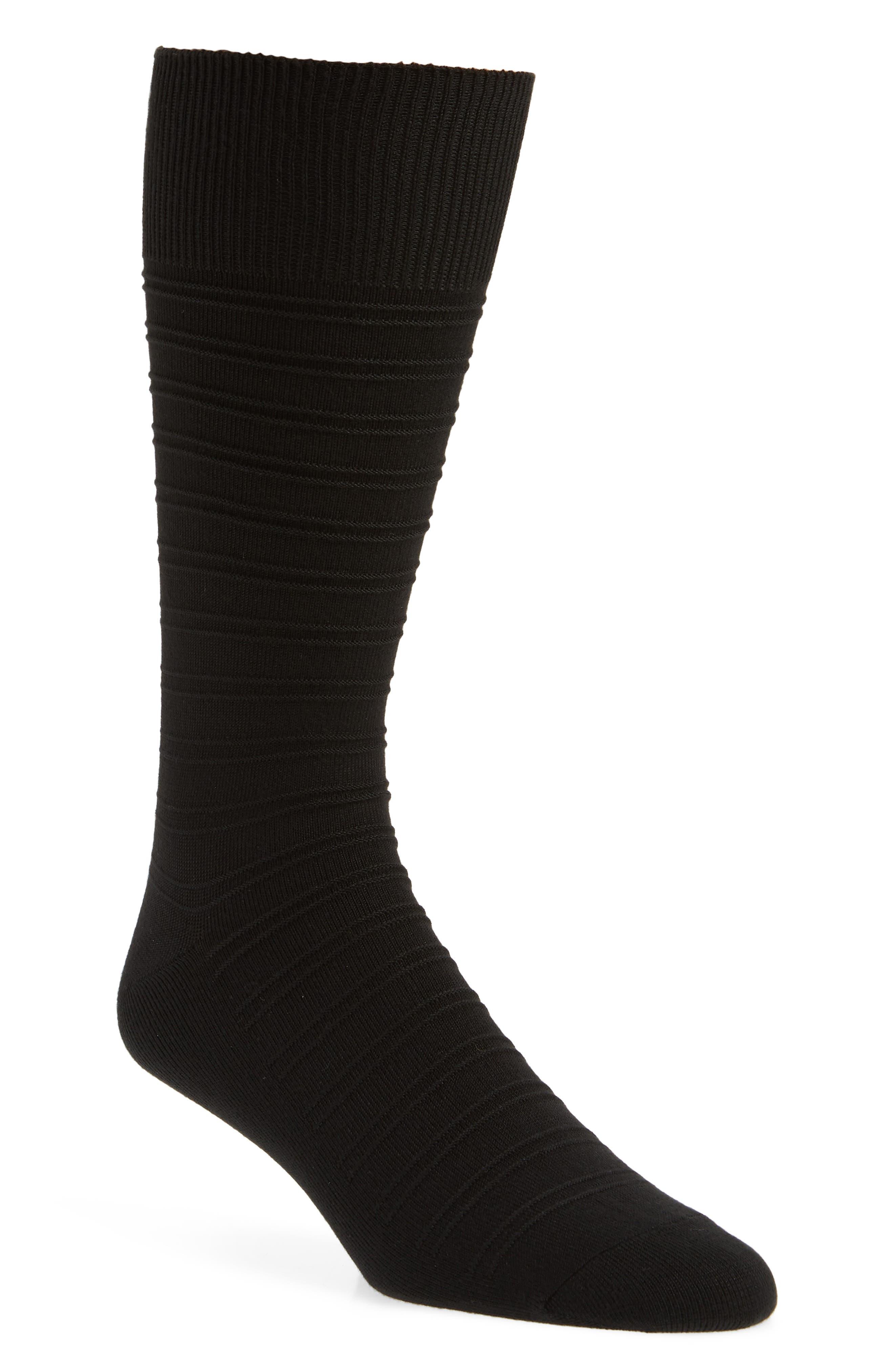 Ultrasoft Stripe Socks, Main, color, BLACK
