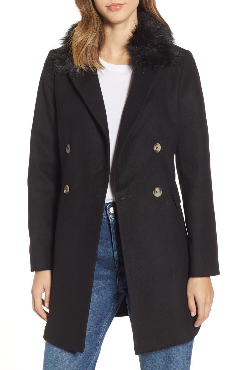 TOPSHOP Naomi Faux Fur Collar Coat, Main, color, 001