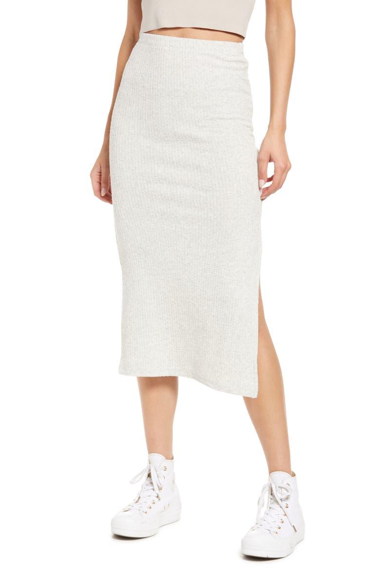 TOPSHOP Textured Rib Midi Skirt, Main, color, GREY