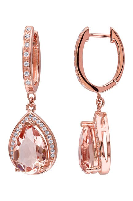 Image of Delmar CZ Pave & Simulated Morganite Earrings