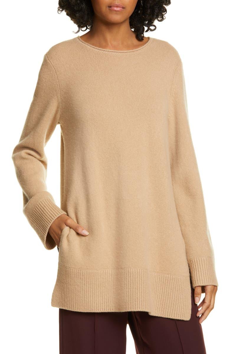 VINCE Crewneck Cashmere Tunic Sweater, Main, color, CAMEL