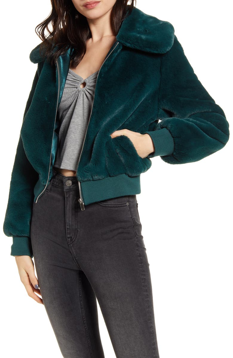 BAND OF GYPSIES Je Tador Faux Fur Bomber Jacket, Main, color, EVERGREEN
