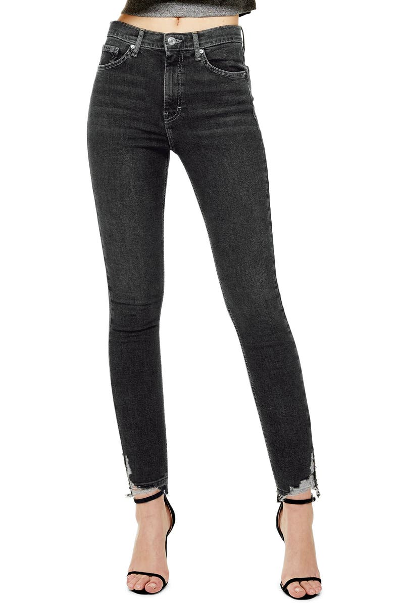 Jamie High Waist Ripped Hem Skinny Jeans, Main, color, WASHED BLACK