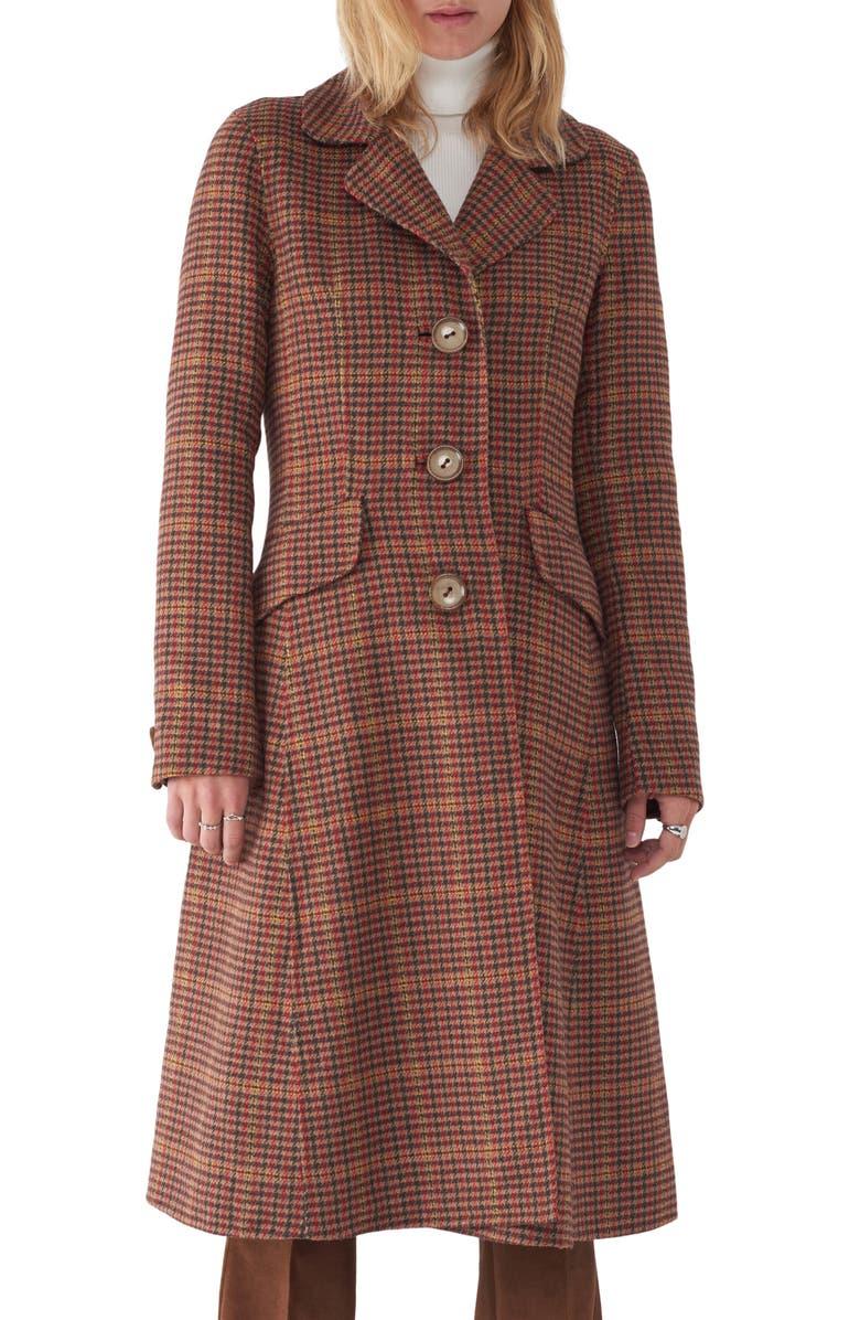 SOSKEN Jimi Houndstooth Flare Coat, Main, color, 200