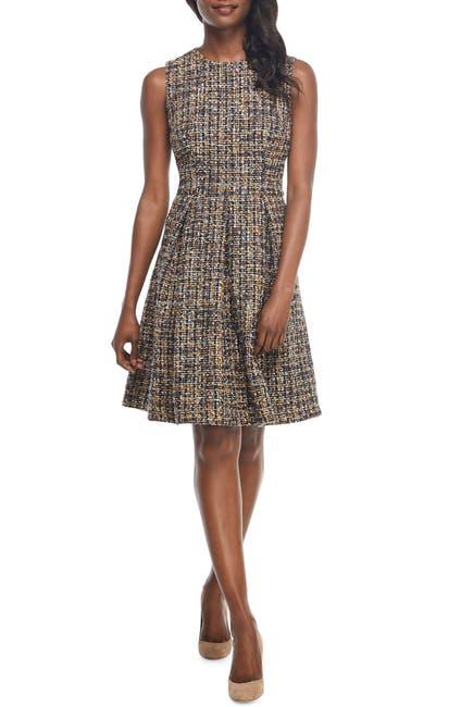 Image of Gal Meets Glam Tinsley Metallic Tweed Fit & Flare Dress