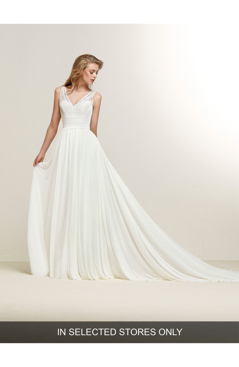 PRONOVIAS Dramia Lace Bodice Fit & Flare Gown, Main, color, OFF WHITE