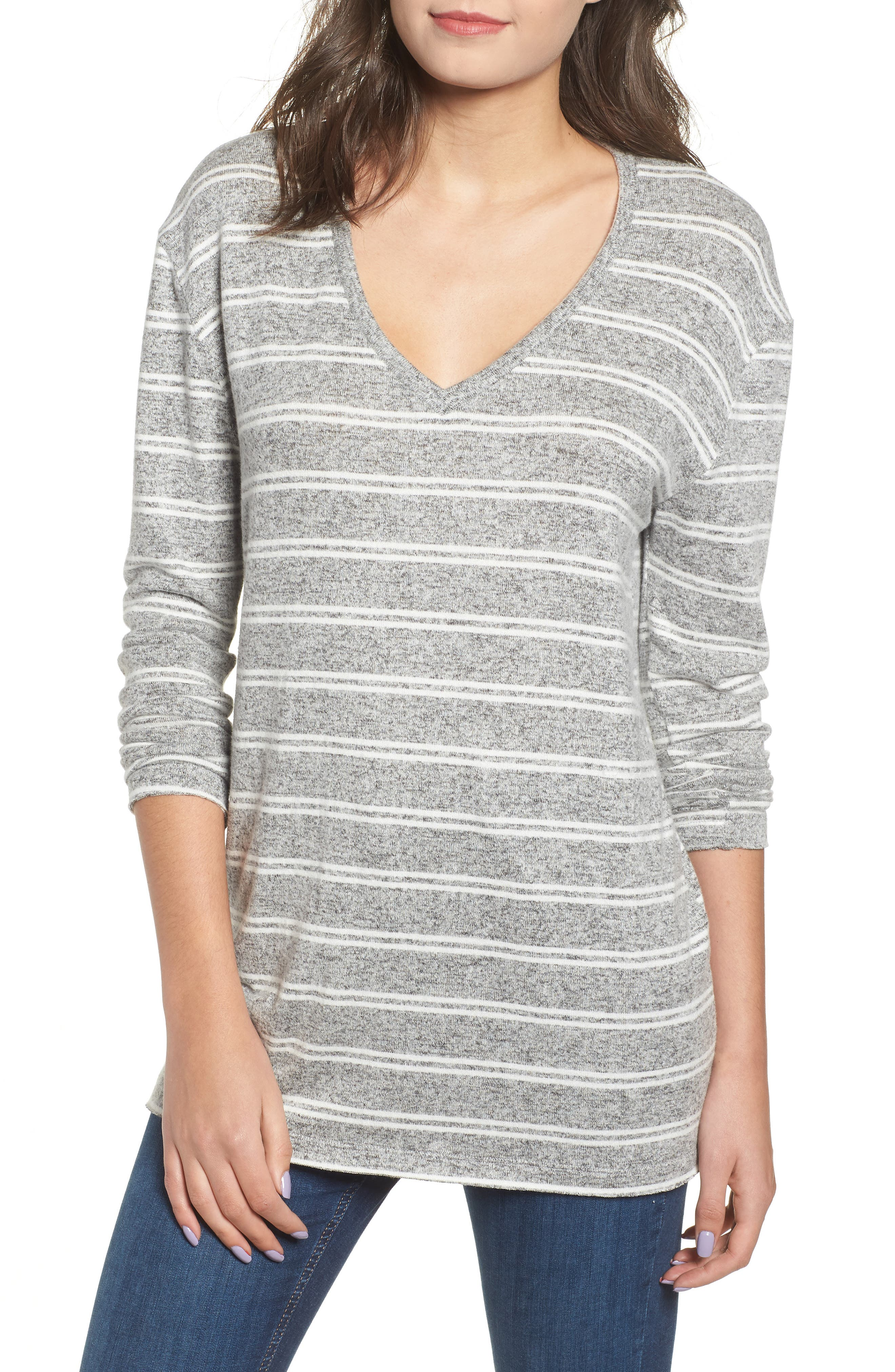 Cozy V-Neck Sweater, Main, color, 050