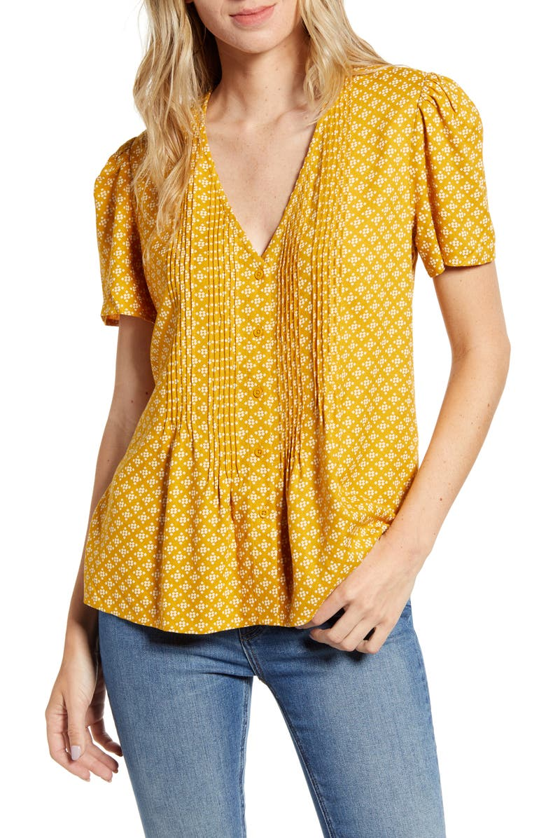 HINGE Pintuck V-Neck Blouse, Main, color, YELLOW GOLD DOT GEO