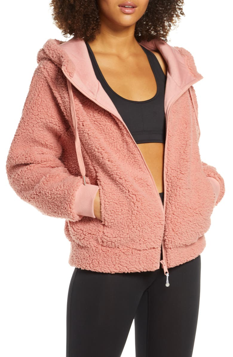 ZELLA Farrah Hooded Fleece Jacket, Main, color, PINK ROSETTE