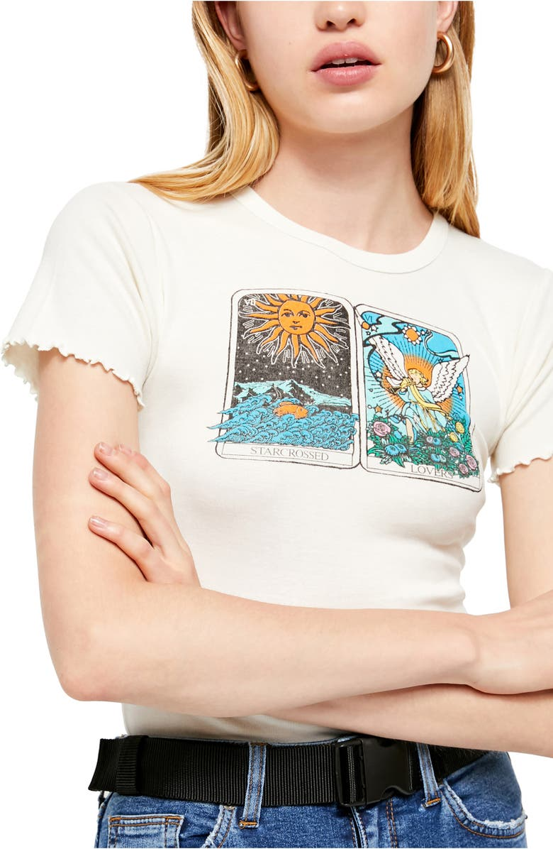 BDG URBAN OUTFITTERS Starcrossed Lovers Graphic Baby Tee, Main, color, CREAM