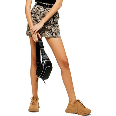 Topshop Snake Print Denim Miniskirt, US (fits like 10-12) - Beige