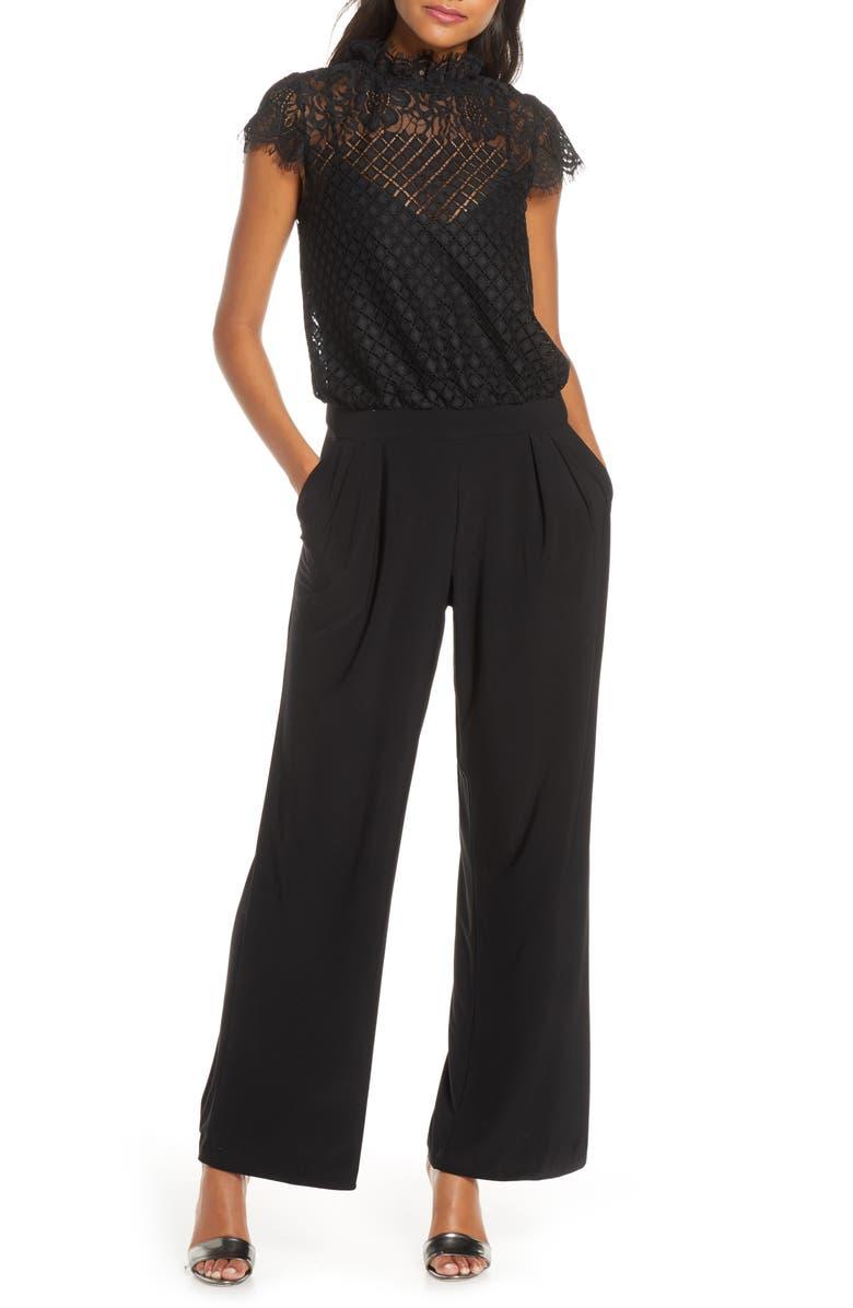 JULIA JORDAN Lace Blouson Jumpsuit, Main, color, BLACK