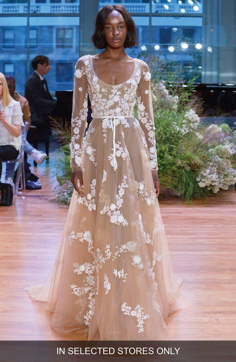 MONIQUE LHUILLIER Alexia Illusion Tulle A-Line Gown, Main, color, SILK WHITE/ NUDE