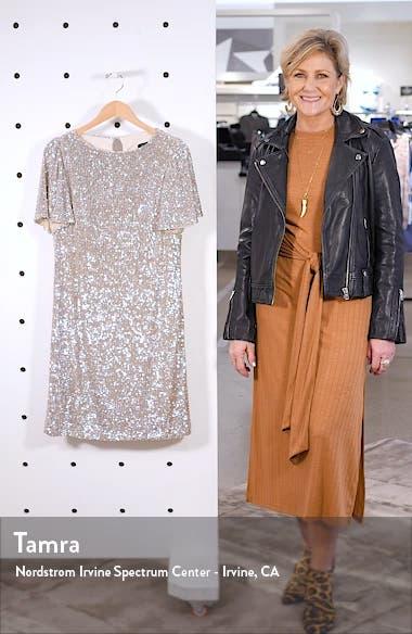Sequin Flutter Sleeve Shift Dress, sales video thumbnail