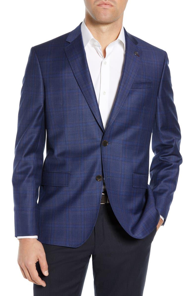 TED BAKER LONDON Jay Trim Fit Plaid Wool Sport Coat, Main, color, 410