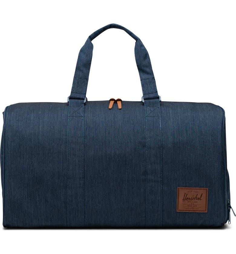 HERSCHEL SUPPLY CO. Novel Duffle Bag, Main, color, INDIGO DENIM CROSSHATCH