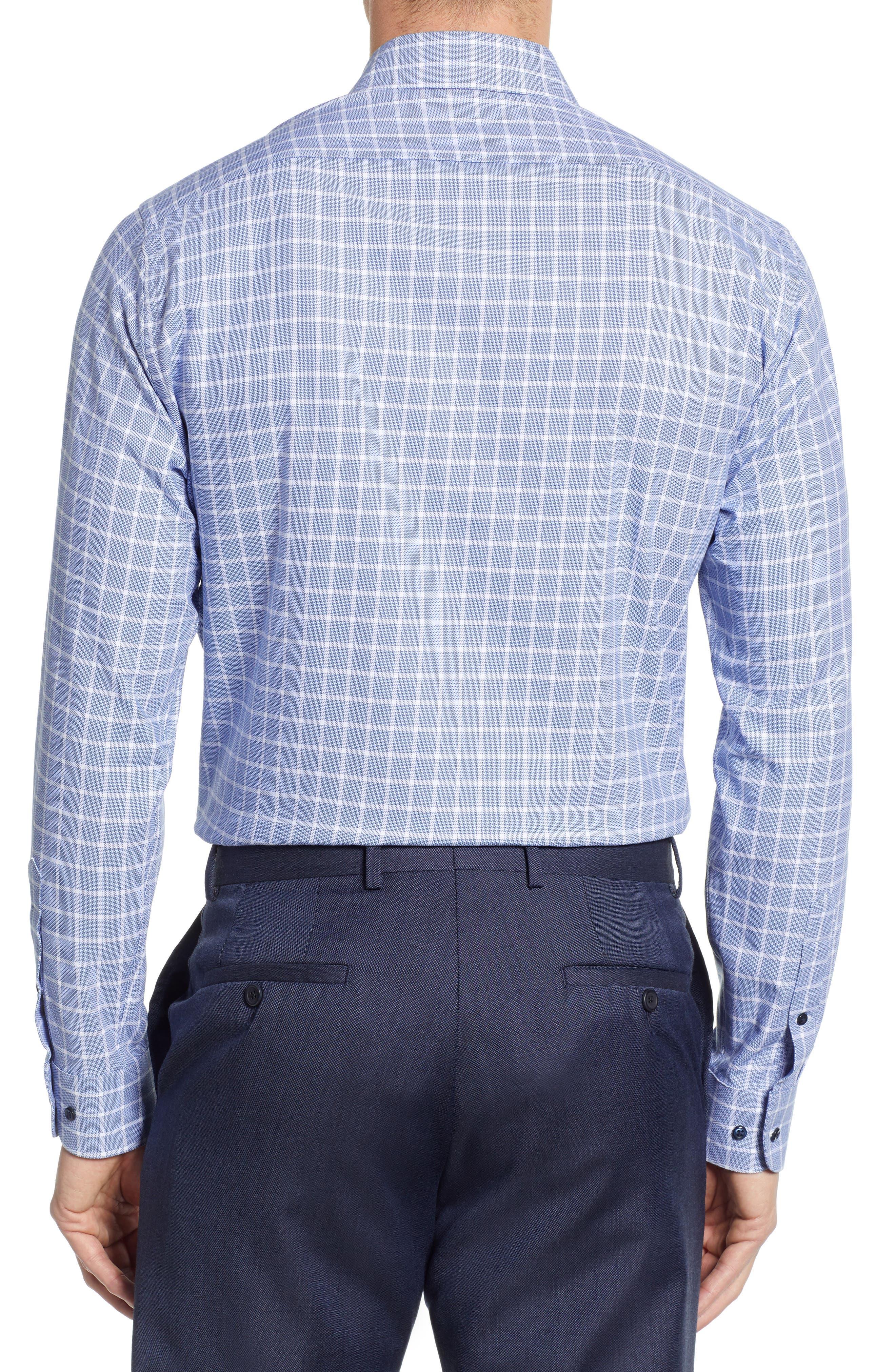 ,                             Tech-Smart Trim Fit Stretch Plaid Dress Shirt,                             Alternate thumbnail 3, color,                             410