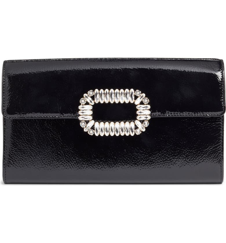 ROGER VIVIER Crystal Buckle Crossbody Bag, Main, color, NERO