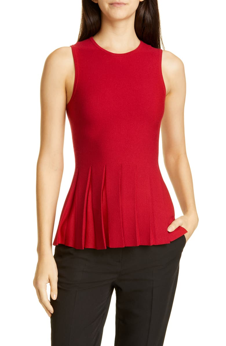 THEORY Pleated Peplum Sleeveless Sweater, Main, color, DARK CRIMSON