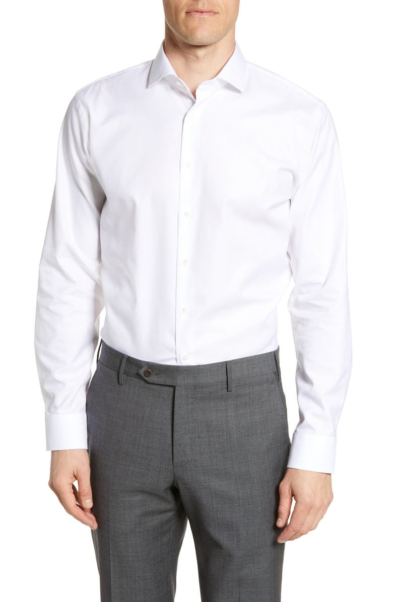 NORDSTROM MEN'S SHOP Trim Fit Herringbone Dress Shirt, Main, color, WHITE