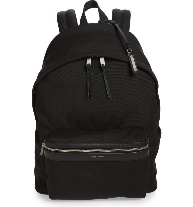 SAINT LAURENT Canvas Backpack, Main, color, BLACK